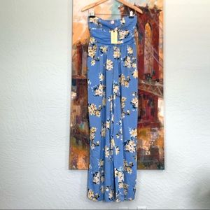 Band Of Gypsies Blue Floral Jumpsuit M